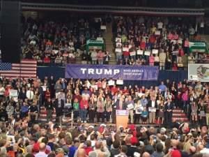 Donald Trump at podium in Springfield.