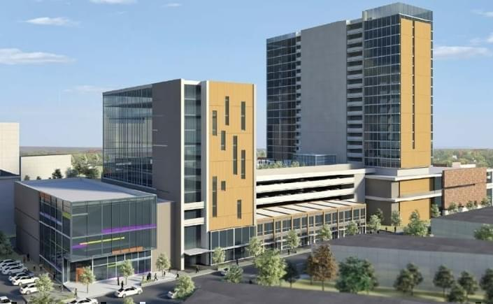 An artist's rendering of what the development would look like looking Northwest on Walnut Street.