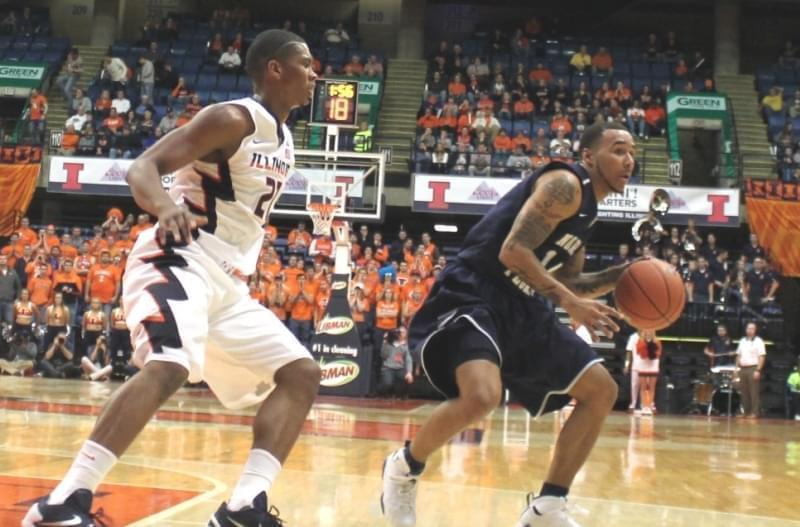 Illini Malcolm Hill guards North Florida's Dallas Moore