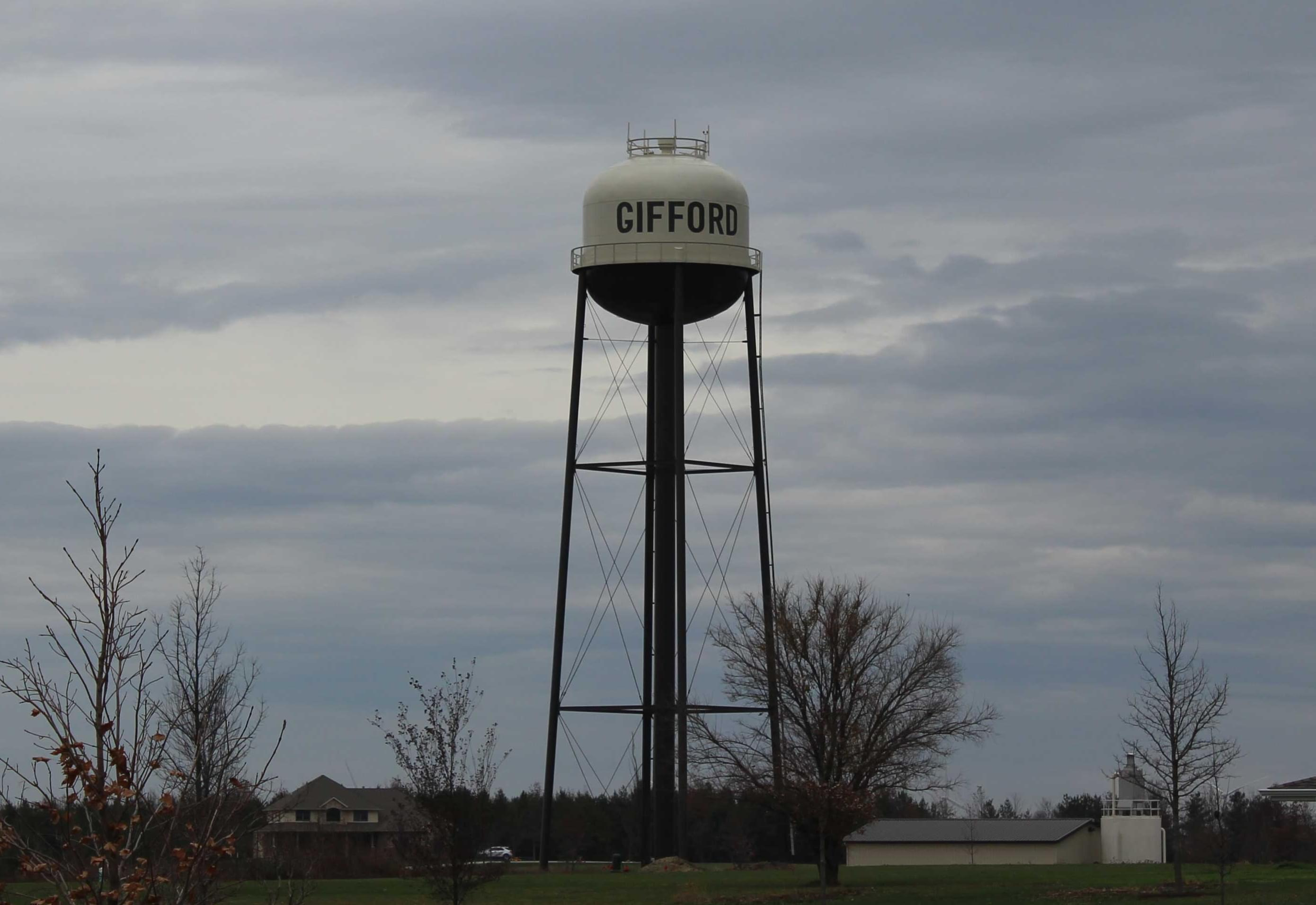 The new water tower in Gifford, which is expected to operational in a few weeks.