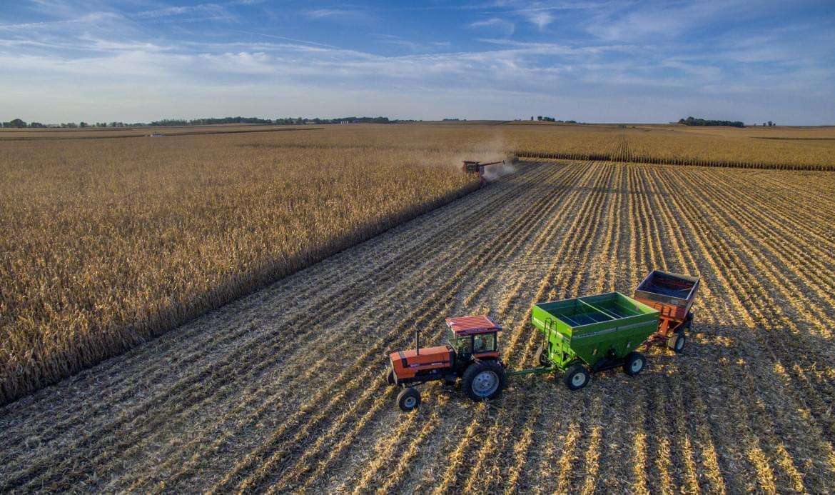 A central Illinois farmer harvests his crop