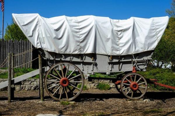A covered wagon.