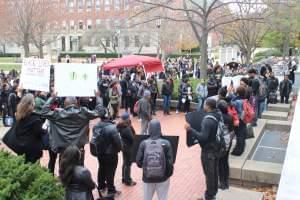 Students gathered on the U of I campus in solidarity with black students at the University of Missouri.