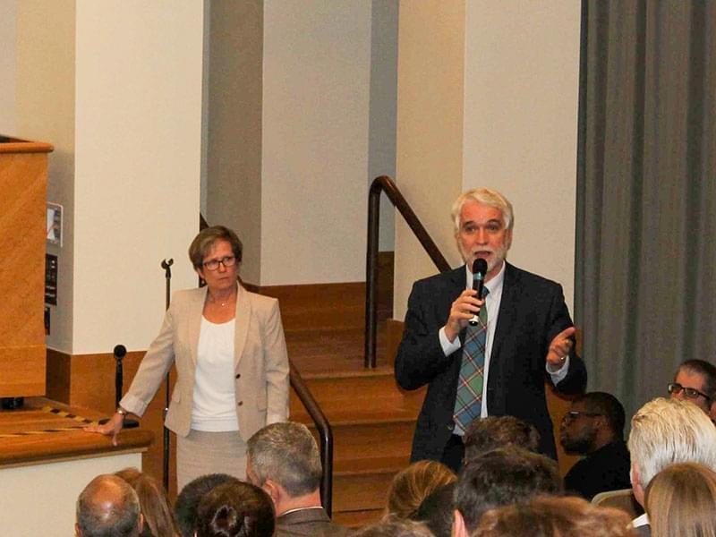 University of Illinois President Timothy Killeen at Wednesday's Town Hall meeting