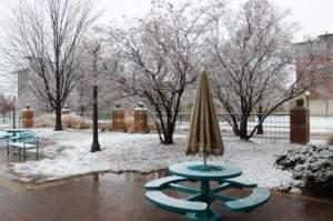 Snow falling outside Illinois Public Media