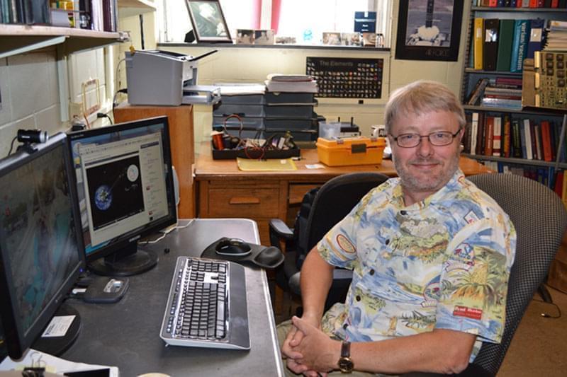 Mats Selen sitting in his office on the University of Illinois Urbana campus