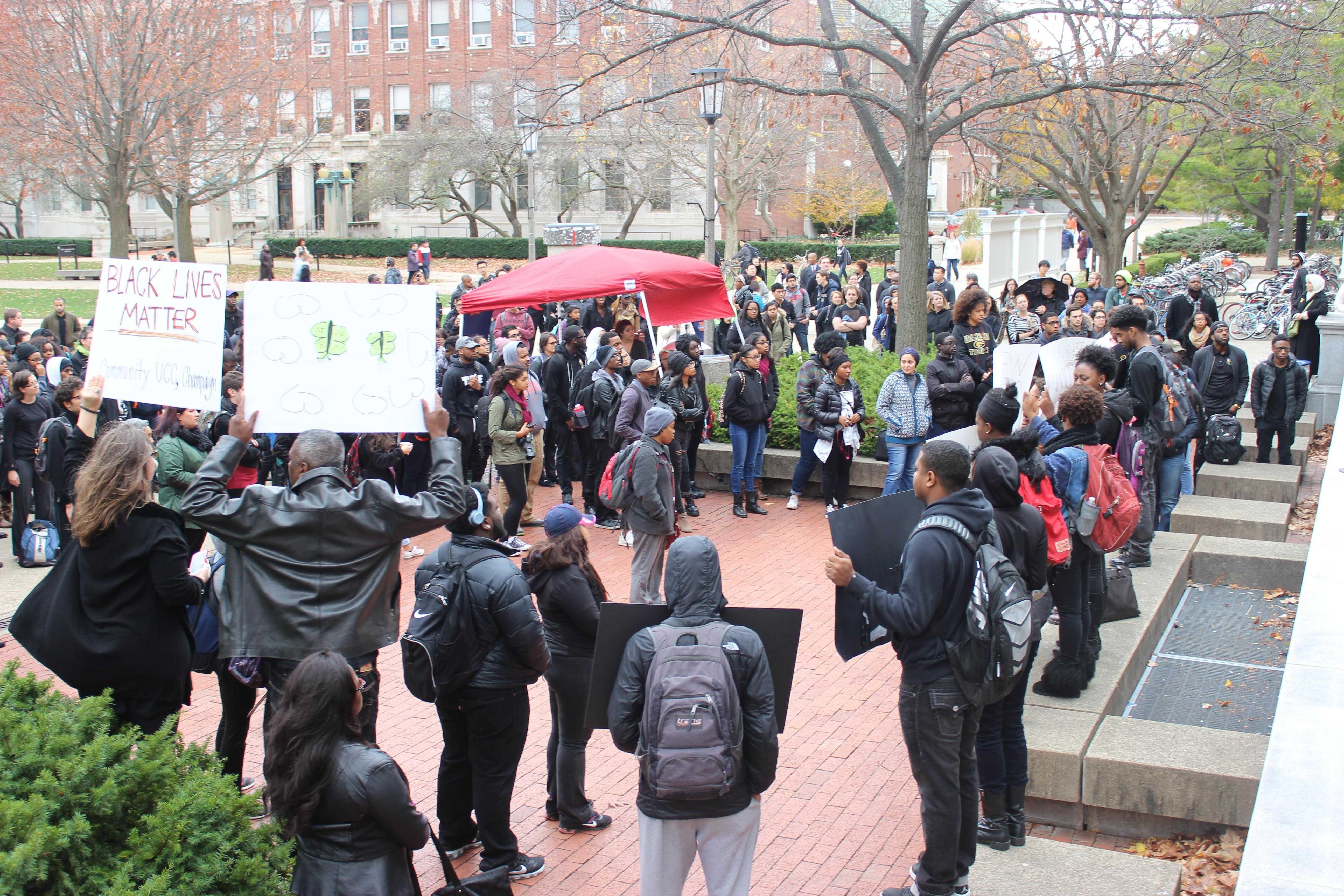 Several black student groups gather on the U of I quad in support of black students at the University of Missouri.