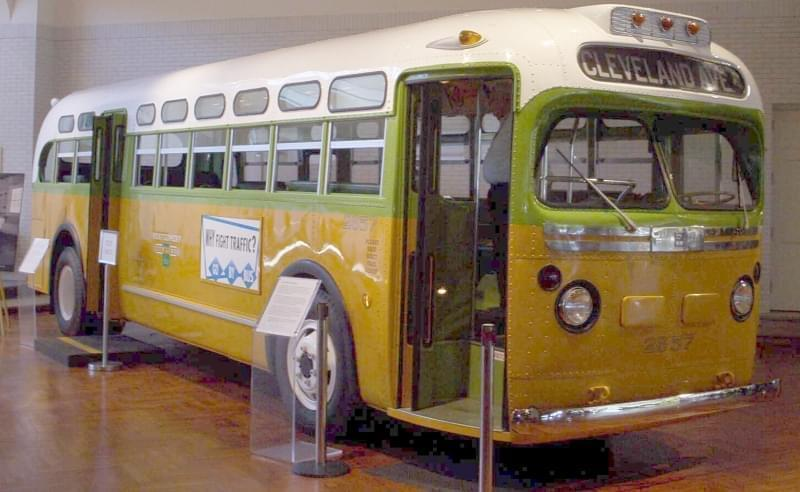 The bus on which Rosa Parks refused to give up her seat to a white passenger, on exhibit at the Henry Ford Museum.