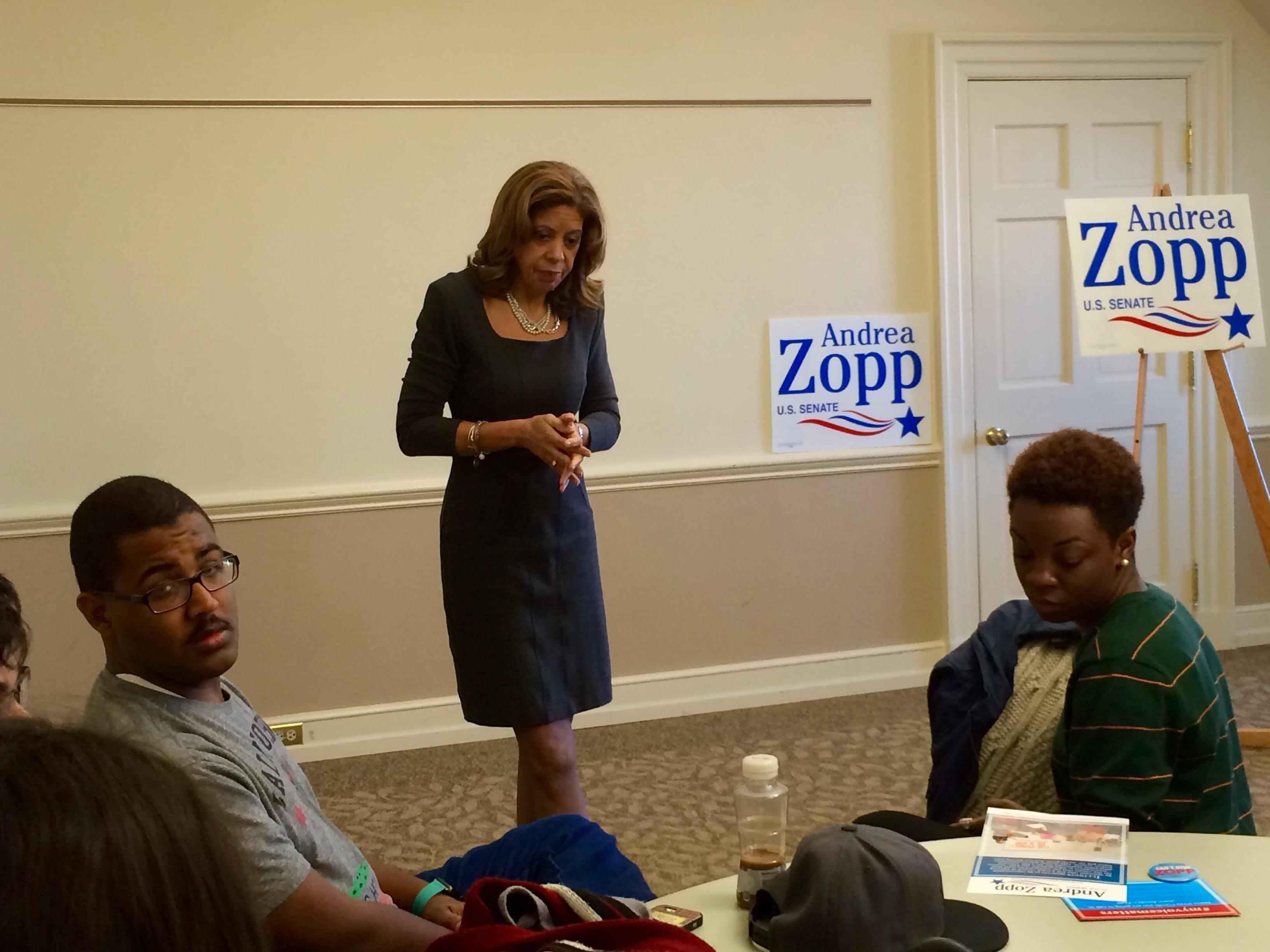 Andrea Zopp, a Democrat vying for U.S. Senate, speaks with students at the University of Illinois Illini Union on Tuesday.