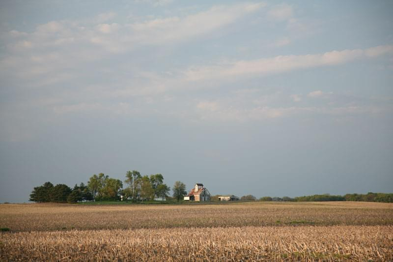 A farm in Illinois just after harvest.