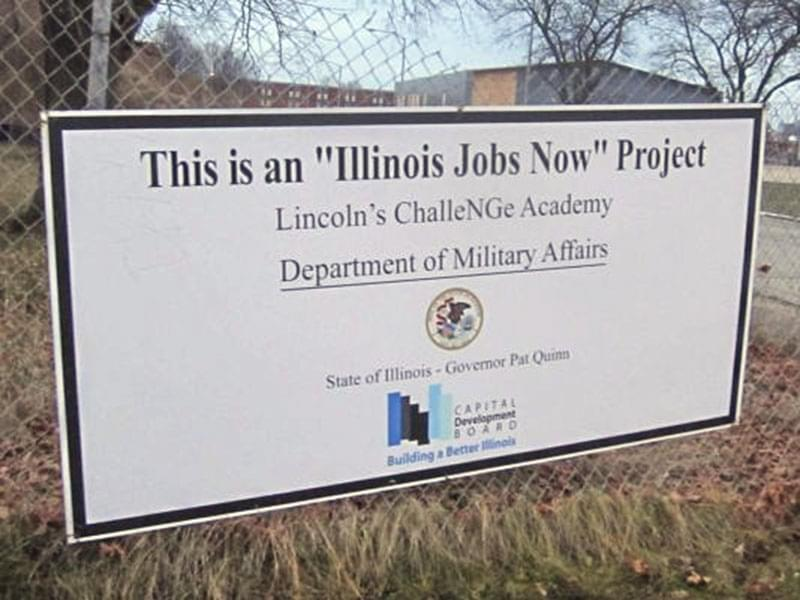 A sign at Lincoln's Challenge Academy in Rantoul