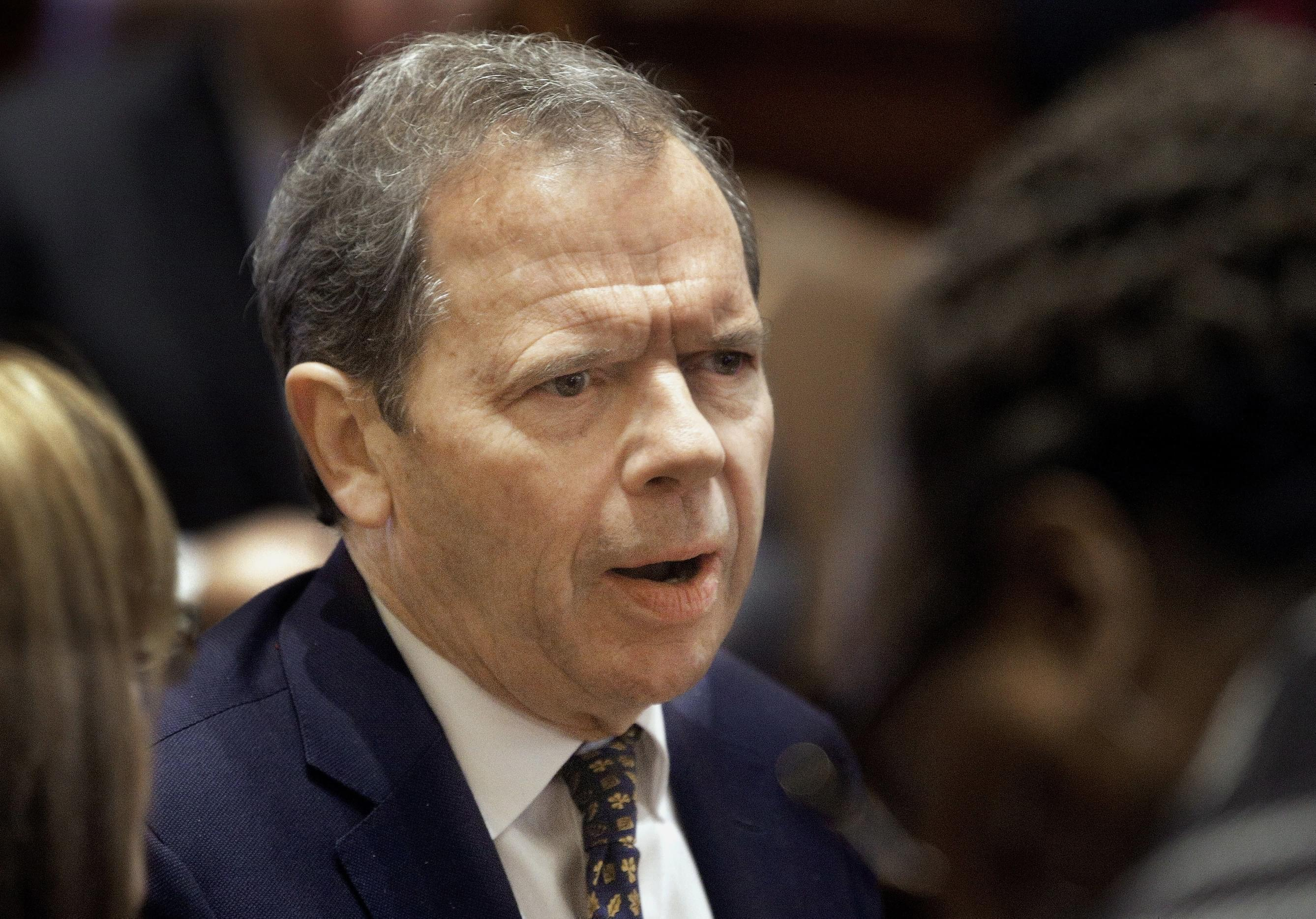 Illinois Senate President John Cullerton, D-Chicago, speaks to lawmakers while on the Senate floor during session at the Illinois State Capitol Monday, Dec. 7, 2015, in Springfield, Ill. Illinois Senate convenes to address a compromise spending bill