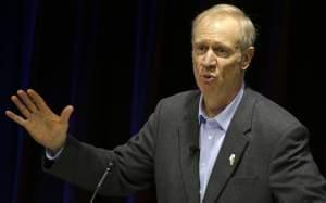 In this Dec. 3, 2015, file photo, Illinois Gov. Bruce Rauner speaks at an event in Chicago. Illinois legislative leaders said they made minor progress during a Tuesday, Dec. 8, meeting aimed at ending the state budget stalemate, including agreeing to