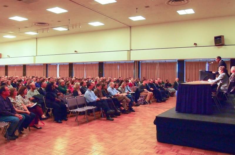 WIU President Jack Thomas speaking at budget forum on Tuesday.