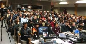 Audience for the forum on the Black Lives Matter movement and Black student protests at the University of Illinois.
