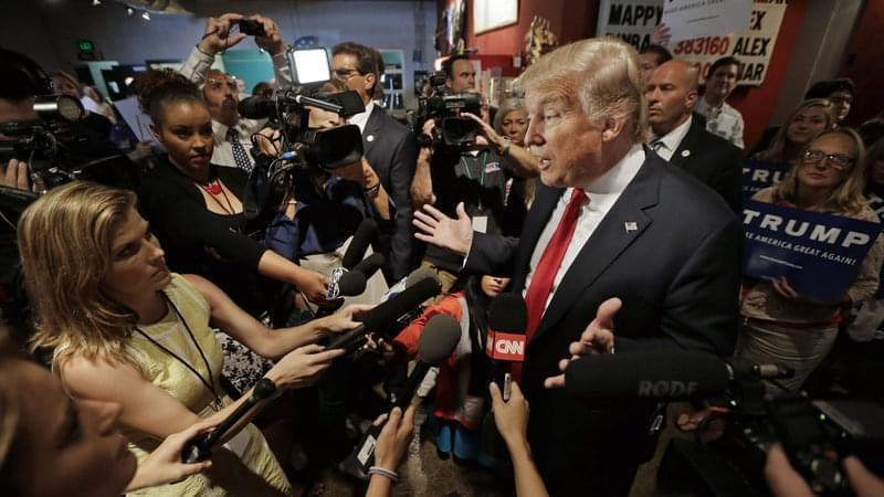 Republican presidential candidate Donald Trump speaks with reporters on Aug. 29, in Nashville, Tenn.