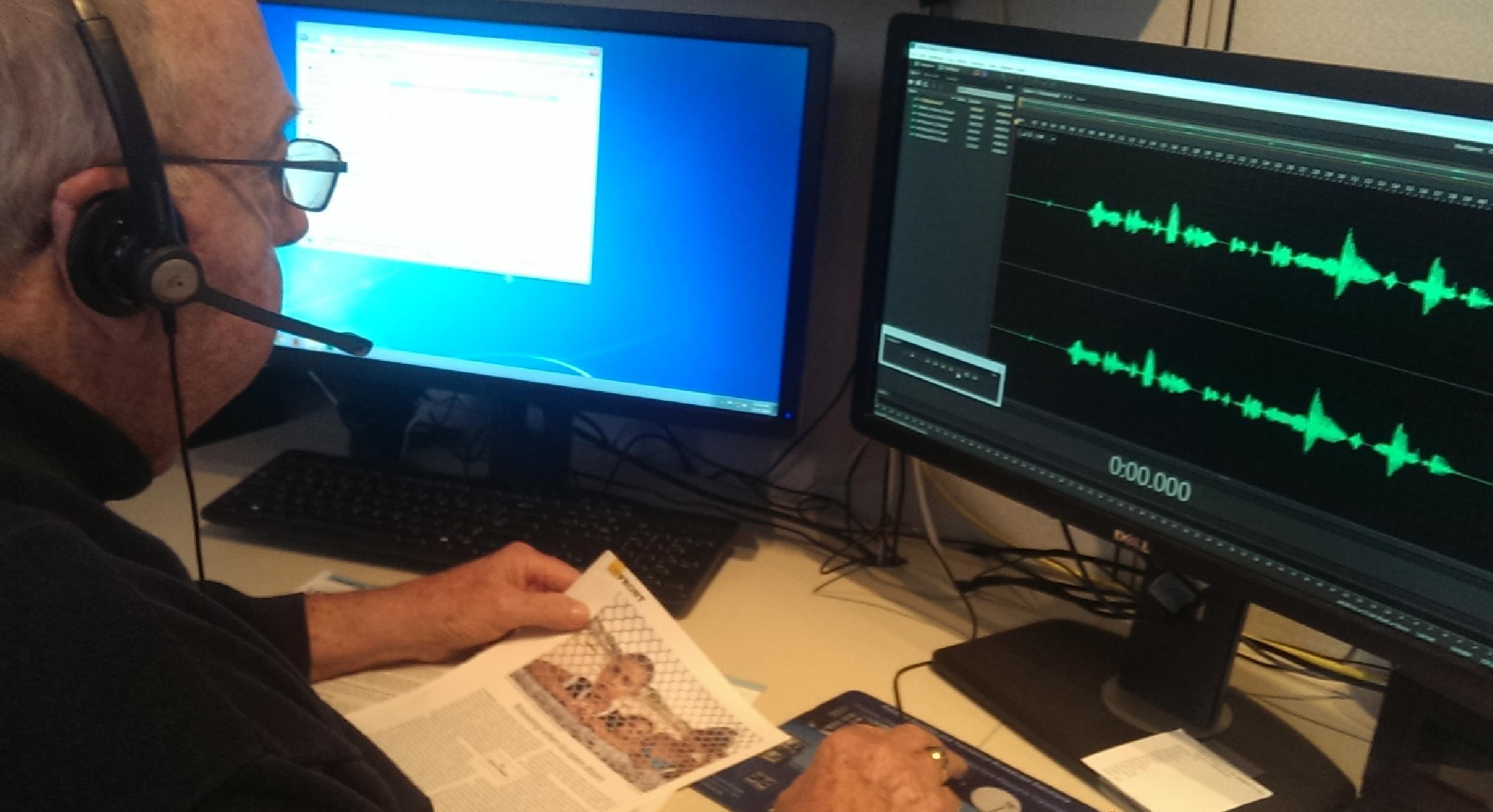 Chuck Archibald, a volunteer at the Illinois Radio Reader