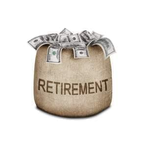 "Graphic of bag full of ""Retirement"" cash."