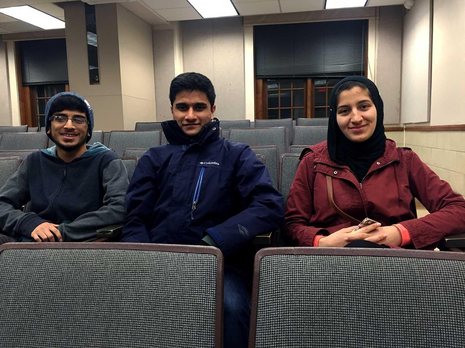 U of I students Ahsan Ali, Bana Zayyad and Mudassir Ali serve on the executive board of the Muslim Students Association on the Urbana campus.