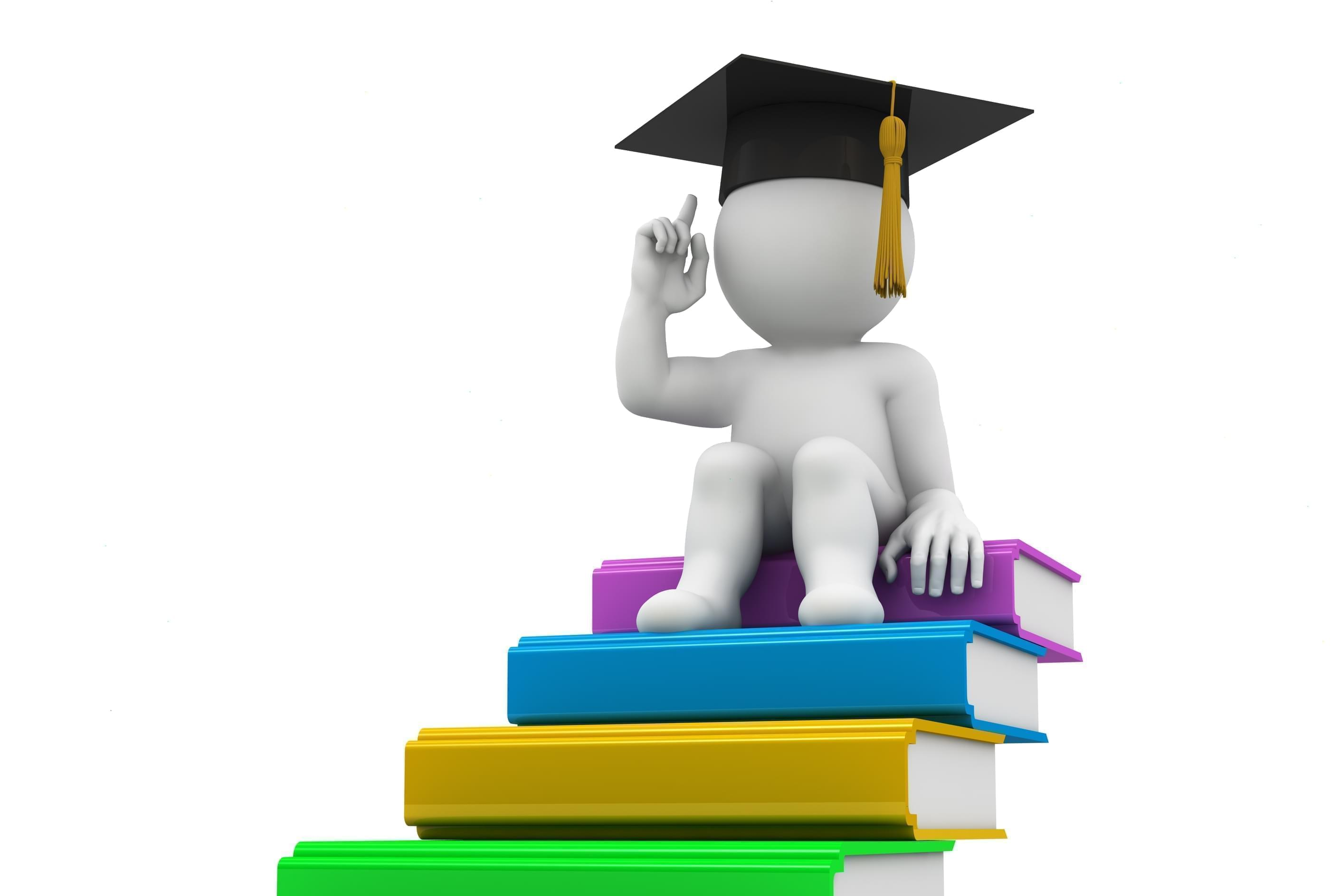 Graphic of everyman character with college graduate cap sitting on heap of books.