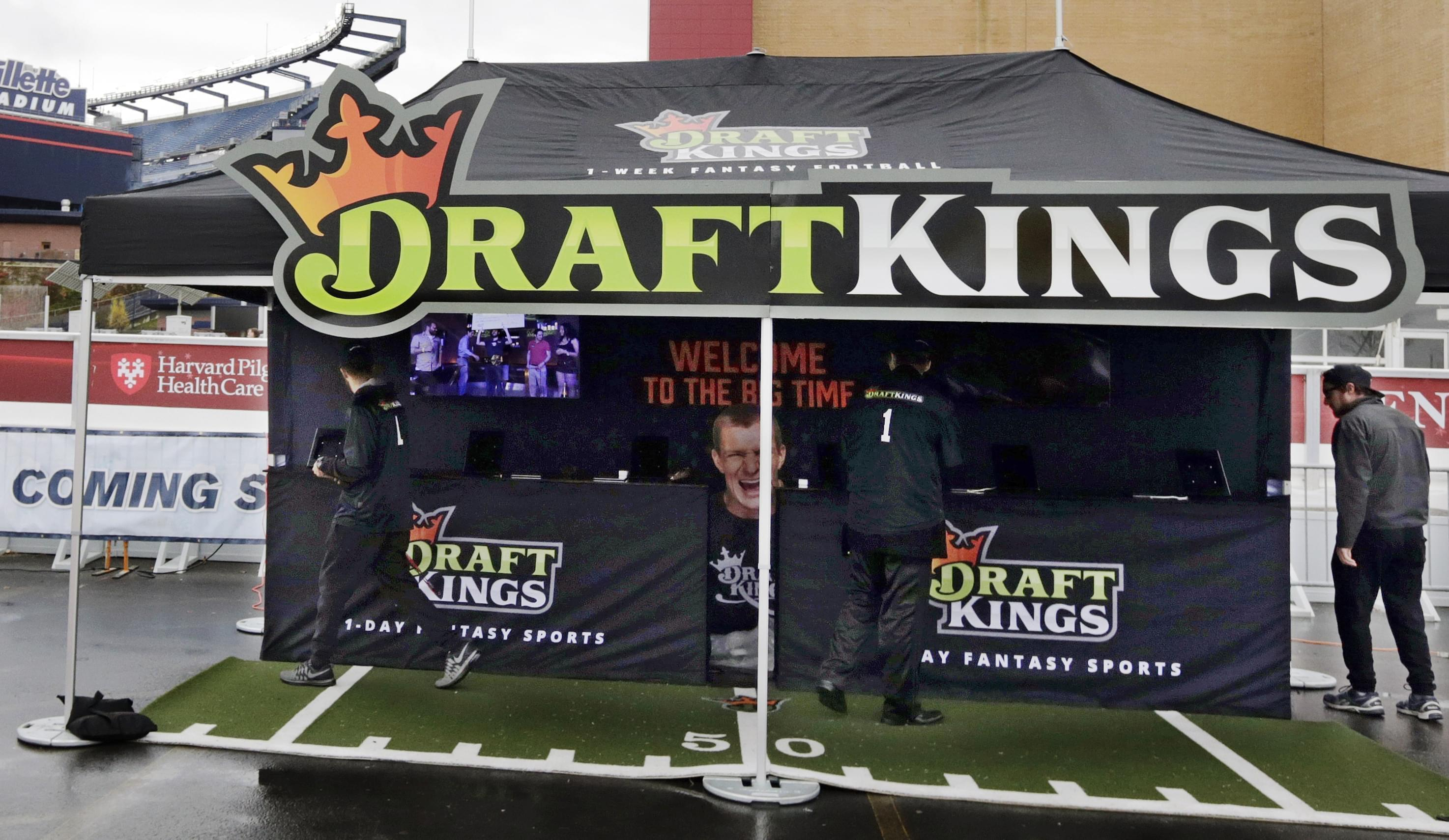 A DraftKings promotions tent in the parking lot of Gillette Stadium, in Foxborough, Mass.