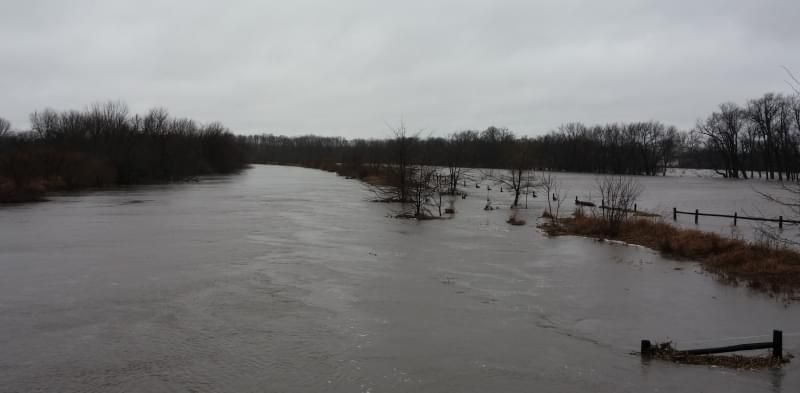 A view from the bridge of County Road 1450N, south of St. Joseph.