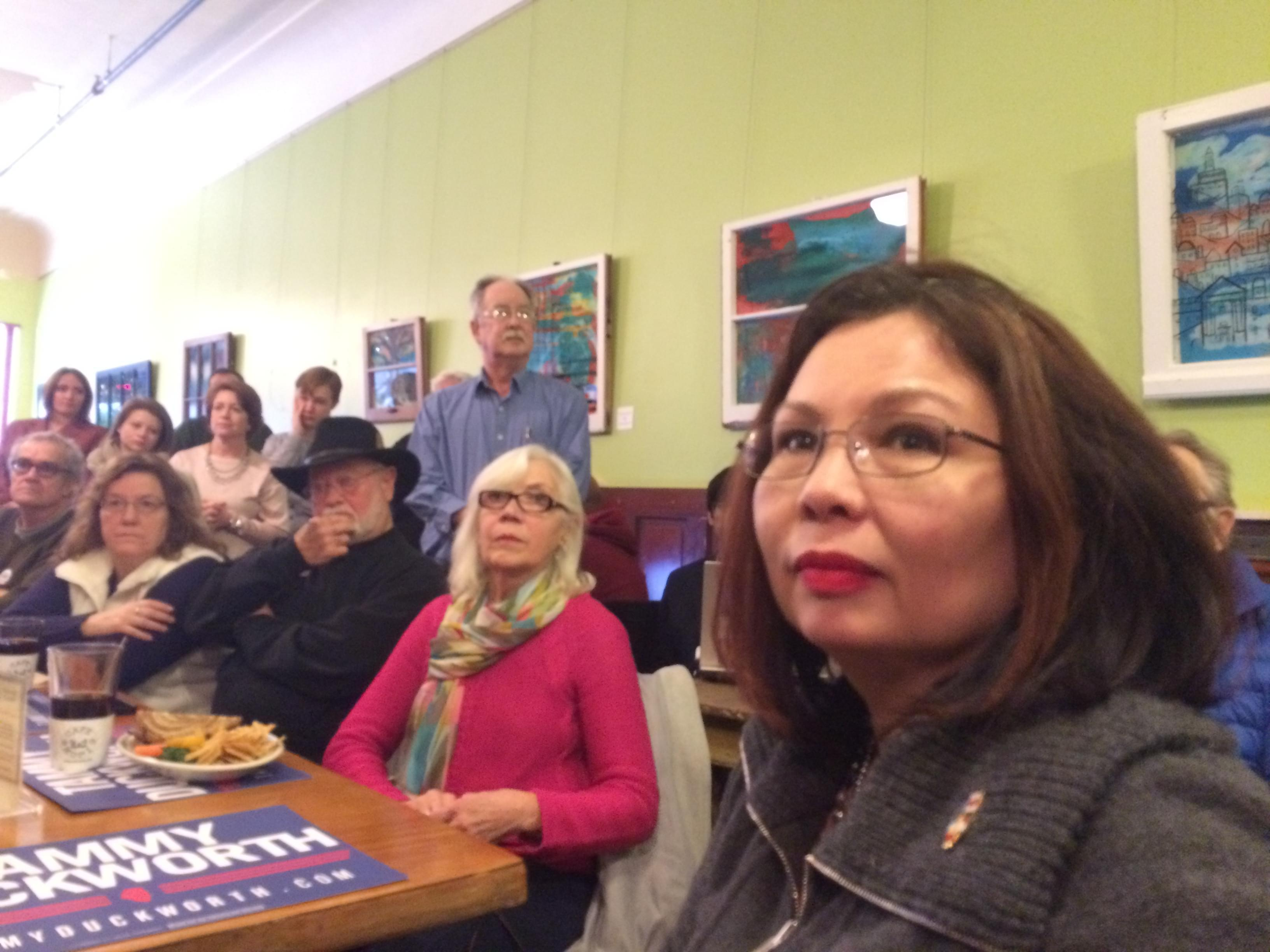 Congresswoman Tammy Duckworth (D-IL) campaigns for U.S. Senate at Cafe Kopi in Champaign on Tuesday.