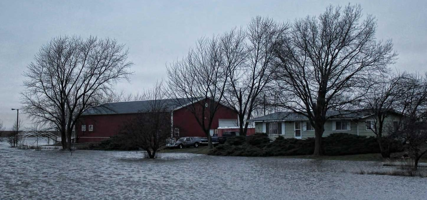 A flooded area just north of Villa Grove, along Route 130.