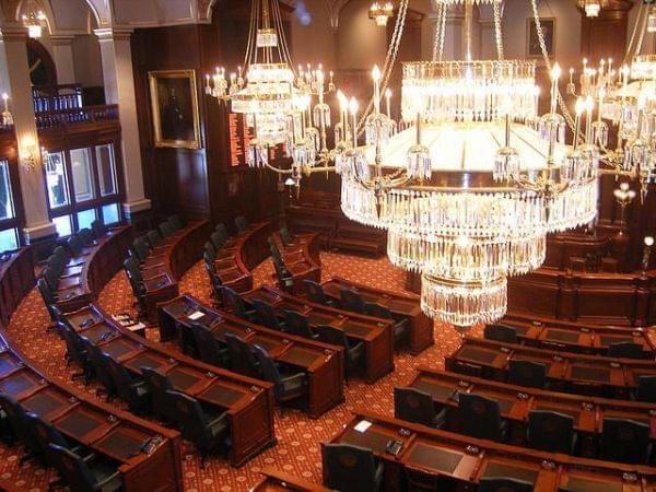 Legislative chamber at the Illinois Statehouse in Springfield.