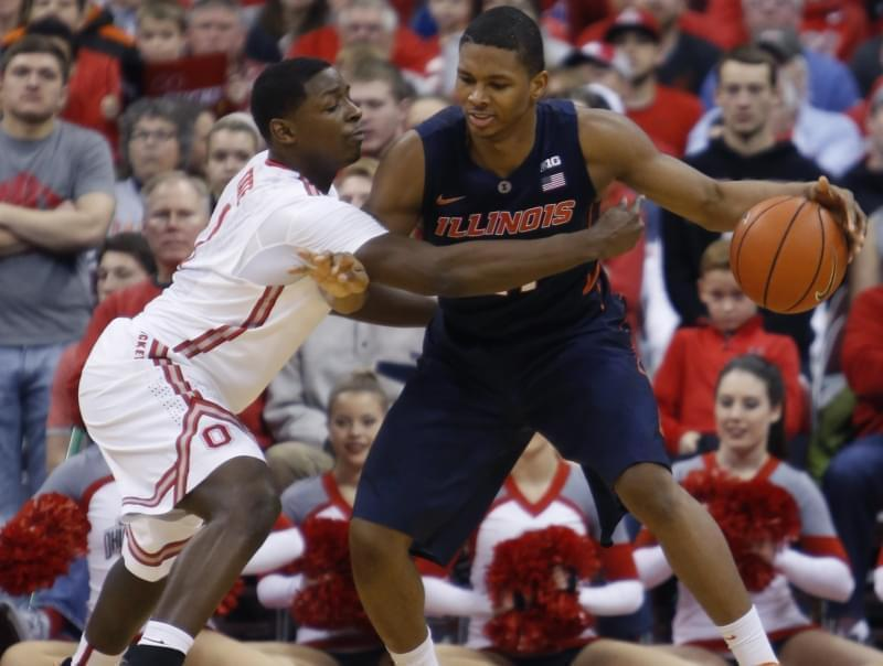 Illinois' Malcolm Hill posts up against Ohio State's Jai'Sean Tate.