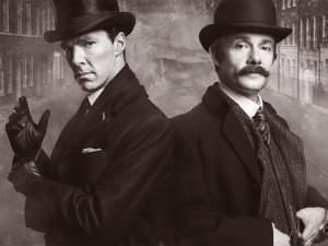 Benedict Cumberbatch and Martin Freeman in 1895 garb