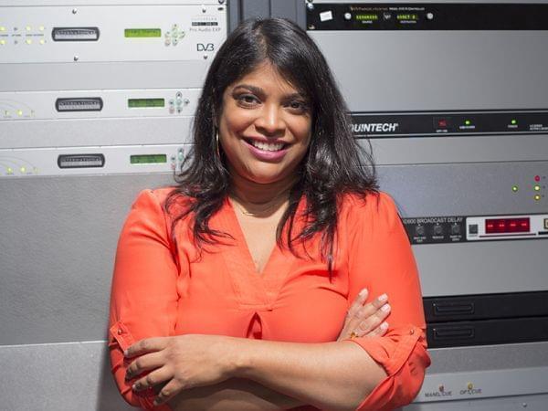 Woman in radio control room