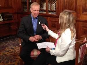 Gov. Bruce Rauner spent much of his anniversary in office giving brief media interviews, including with Illinois Public Radio.