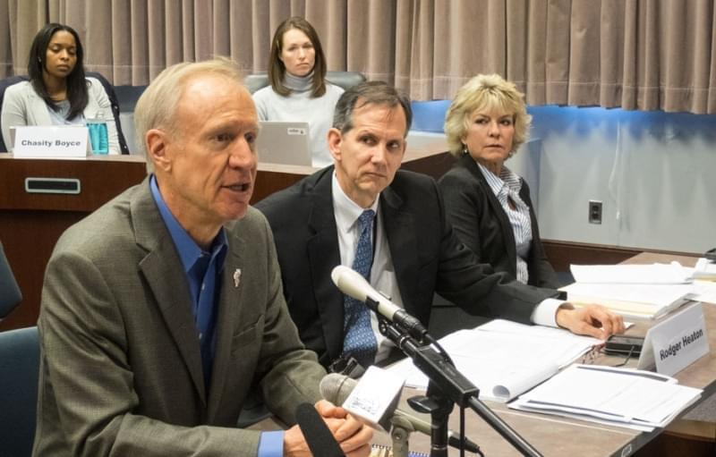 Gov. Bruce Rauner spoke Thursday with members of the Illinois State Commission on Criminal Justice and Sentencing Reform.