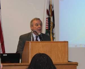 Illinois US Senator Dick Durbin speaks at the U of I's Beckman Institute Friday.