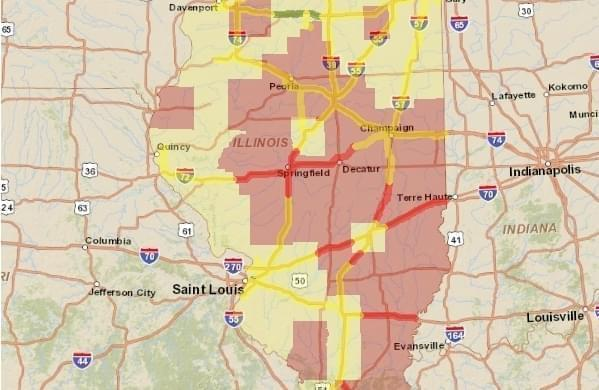 Illinois Department of Transportation map of winter highway conditions in the state.