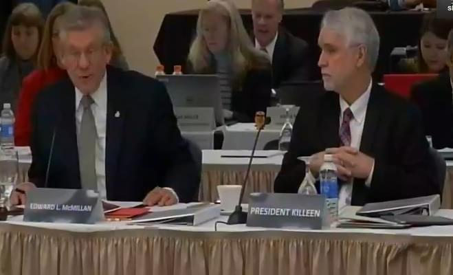 University of Illinois President Timothy Killeen and Trustees Board Chair Ed McMillan