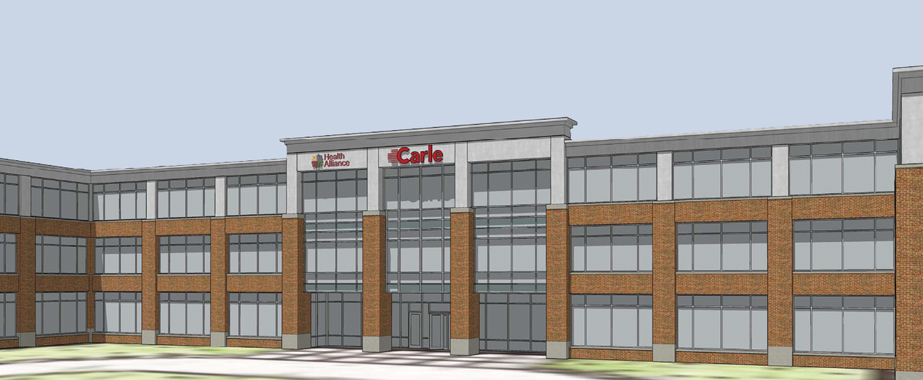 Drawing of the Carle at The Fields project planned for construction at the I-57 Curtis Road interchange.