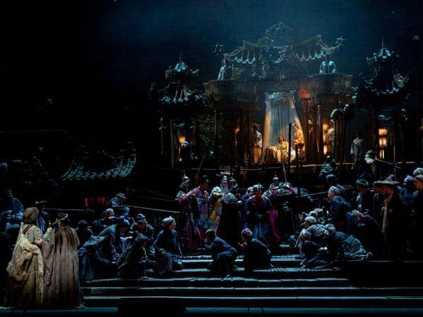Opera cast performing on stage