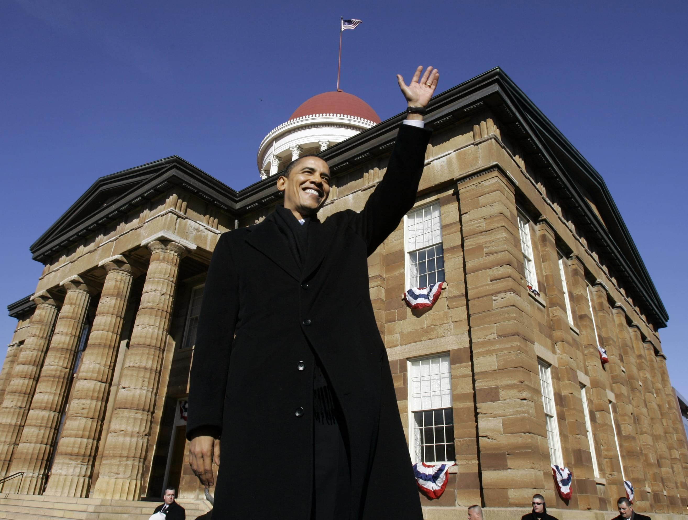 Then-U.S. Sen. Barack Obama of Illinois, waves to spectators as he arrives to announce his candidacy for president of the United States at the Old State Capitol in Springfield, Ill., Saturday, Feb. 10, 2007.
