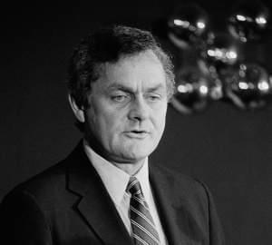 In this Aug. 29, 1983 file photo, Illinois state Sen. Philip J. Rock, D-Oak Park, announces his candidacy for the U.S. Senate in Chicago, Ill.