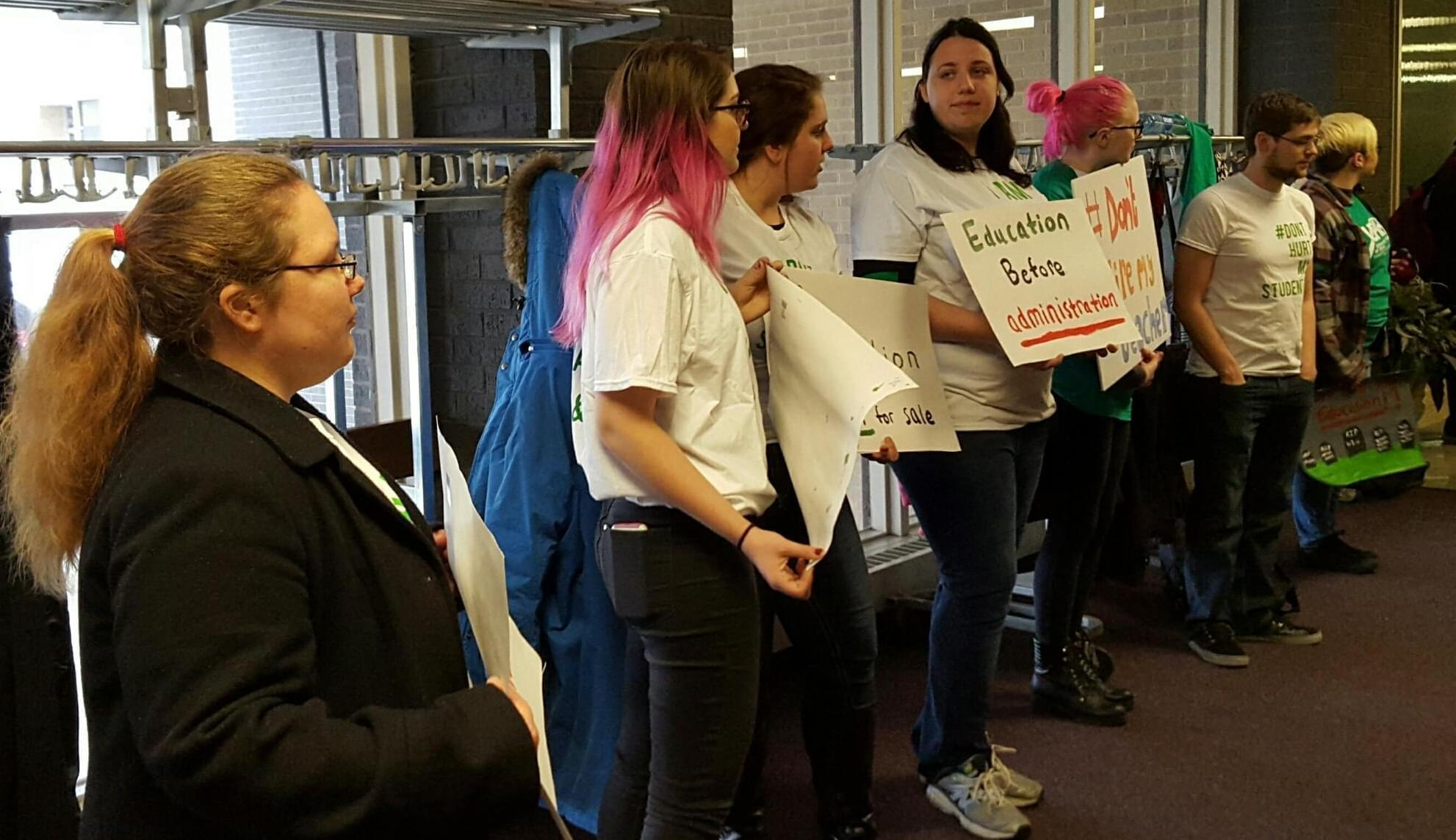 Western Illinois University students demonstrate for more higher education funding.