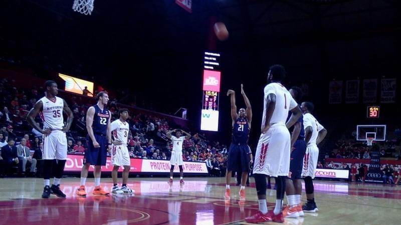 Malcolm Hill shoots free throws.