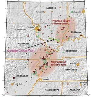 Map of the New Madrid and Wabash Valley seismic zones showing earthquakes as circles.