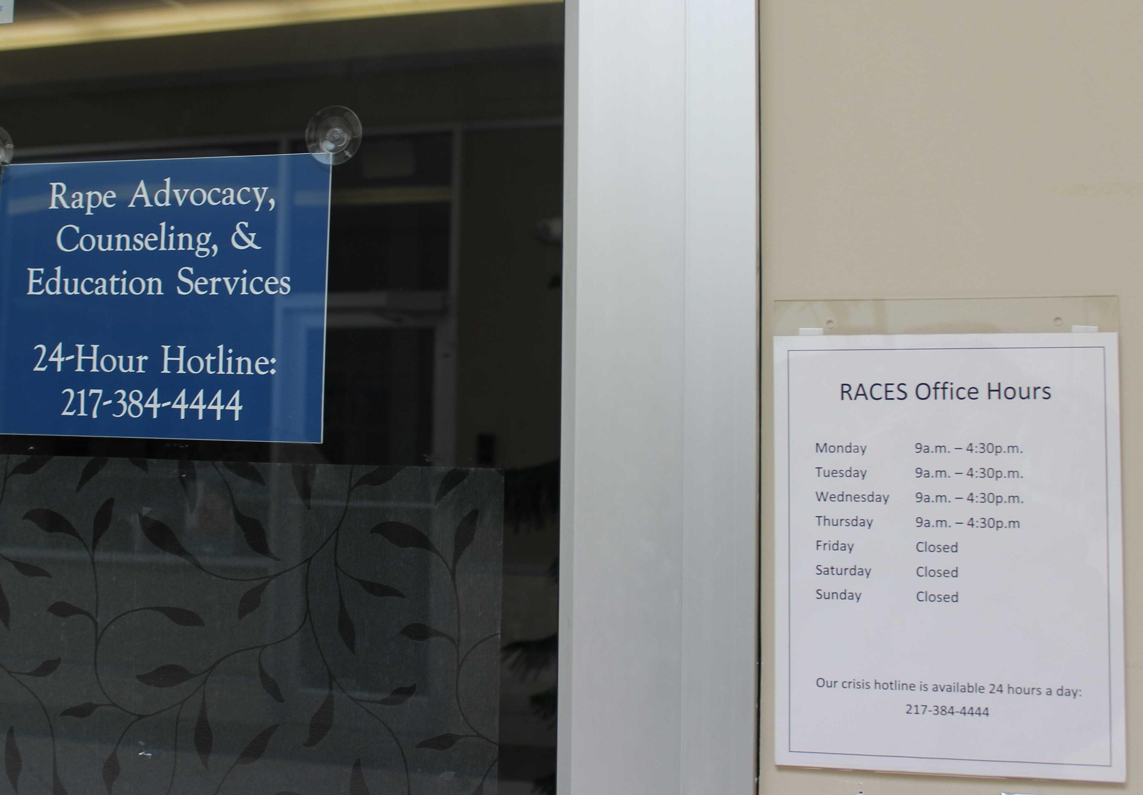 The offices of Rape, Advocacy, Counseling and Education Services in Urbana, which has reduced operation to four days a week due to the lack of a state budget.