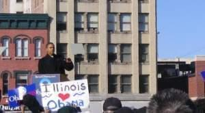 Barack Obama announcing his candidacy for president in Springfield in 2007.