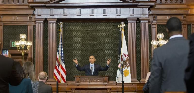 President Barack Obama receives a standing ovation before addressing the Illinois General Assembly in Springfield.