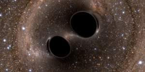 Image of binary black holes about to collide.