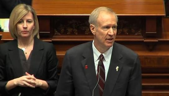 Gov. Bruce Rauner delivers his budget address Wednesday in the House Chamber.