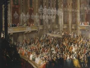 painting of a performance of Mozart